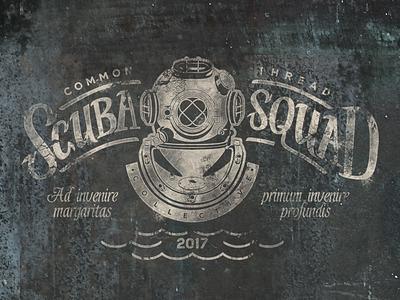 Scuba Squad Logo nautical retro vintage scuba logo crest handlettering