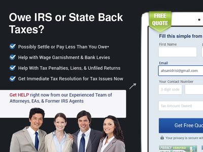 Landing Page Tax Relief ux form landing tax lawyer design presuasive
