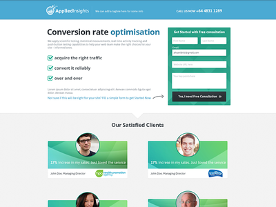 Landing Page for applied Insights flat blue black green landing page design