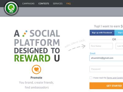 Qme social media landing page signup design form main landing page web ux ui