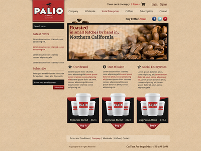 Palio Coffee store UI Design ecommerce ui shop cart coffee store design