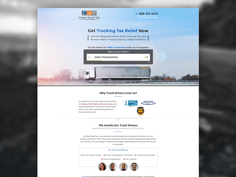 Tax Relief Landing Page for Truck Drivers landing page finance business tax blue grey design relief truck