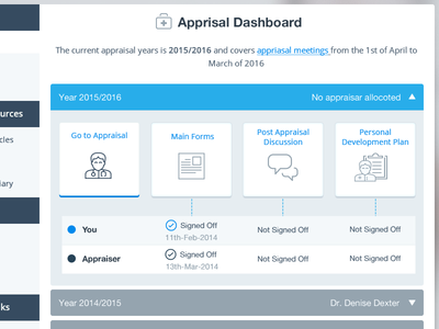 GPTools Appriasal Dashboard blue medicine medical appraisal british tools gp