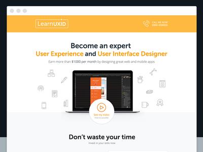 Learnuxid Landing Page landing page ui ux conversion learnuxid design