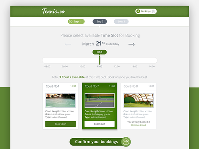 Tennis Court Booking System App booking system app web select date time results search booking