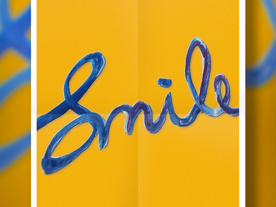 Smile Experiment lettering brush purple orange blue calligraphy