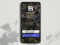 Project Homelander mobile app design property home blue login screen