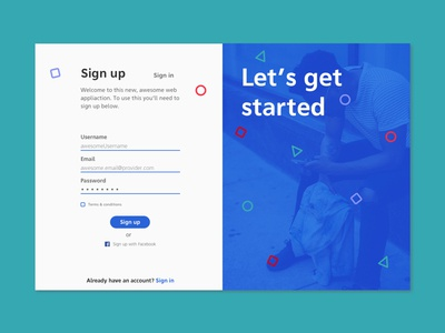 Daily UI #001 - Sign Up ux ui daily challenge blue log in 001 sign up challenge daily ui