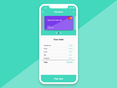 Daily UI #002 - Credit card checkout ux ui daily challenge purple green 002 checkout credit card challenge daily ui