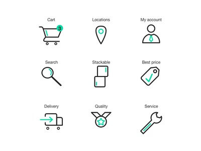 Ecommerce iconset webdesign graphic design green stackable search account locations cart iconset icons icon ecommerce