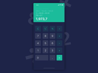 Daily UI #004 - Calculator blue green dark calculator daily ui dailyui