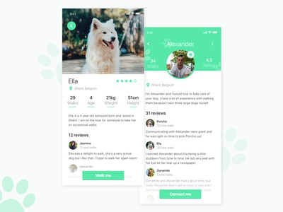 Daily UI #006 - Profile animal green outdoors dogwalking dog profile daily ui dailyui