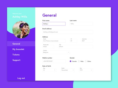 Daily UI #007 - Settings input input fields forms 007 green purple settings daily ui dailyui