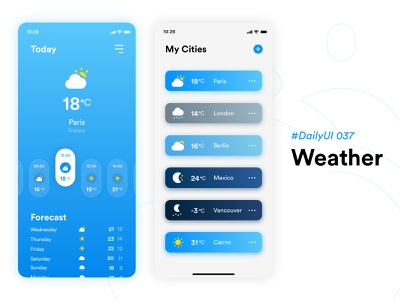 #DailyUIChallenge 037 - Weather mobile design mobile app mobile ui appdesign uidesign sunny forecast weather forecast weather app weather dailyui 037 dailyuichallenge dailyui