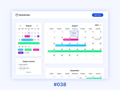 #DailyUIChallenge 038 - Calendar desktop application desktop app webdesign uidesign calendar app calendar ui calendar dailyui 038 dailyuichallenge dailyui