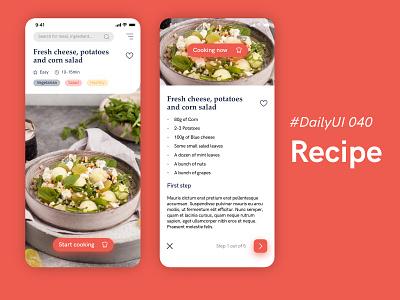 #DailyUIChallenge 040 - Recipe uidesign ui mobile app design appdesign recipe app cooking recipe dailyuichallenge dailyui 040 dailyui