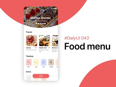 #DailyUIChallenge 043 - Food menu uidesign mobile app design app design waffle waffles food app dailyui 043 dailyuichallenge dailyui