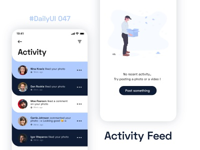 #DailyUIChallenge 047 - Activity Feed dailyui 002 uidesign appdesign mobile app notifications app social app feed activity activity feed dailyui 047 dailyuichallenge dailyui