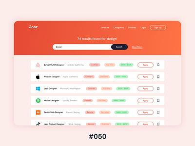 #DailyUIChallenge 050 - Job Listing ui uidesign webdesign job board website job job listing dailyui 050 dailyui dailyuichallenge