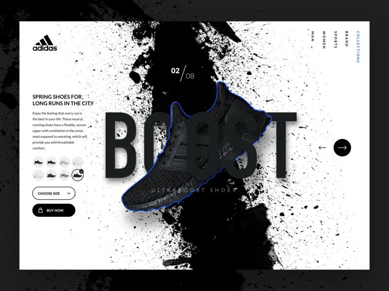 Adidas UltraBoost Landing page productpage productdesign product uidesign shop black ultraboost boost webdesign web ui shoes landing design landingpage landing adidas
