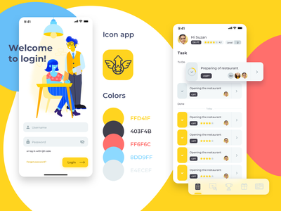 Restaurant Manager App task works light yellow ux design ux design level up level product design manager restaurant team ios application app ui