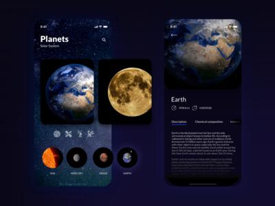 App concept - planets