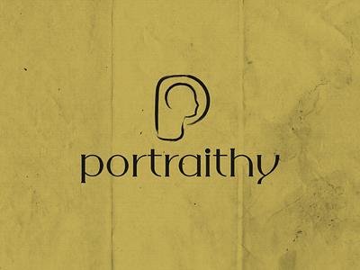 Portraithy 1 p logo design logo gold photo portrait brand identity brand dry brush face letter p logo letter p