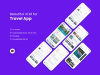 Travel App IOS UI Kit (Freebie) typography agency branding illustration website download free landing page ux design kit ui ios travel app