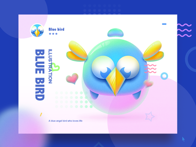 Blue Bird  gorgeous graphic cute painting illustration