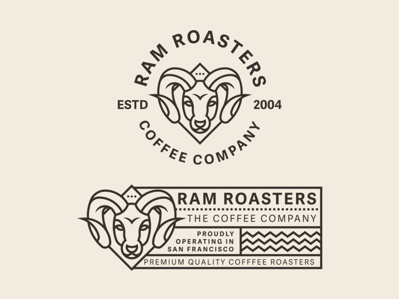 Ram roasters concept label design coffee label label badge horn deer roasters ram coffee bar coffee coffee roaster