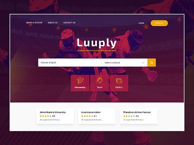 Student Athlete sports game webmockup weblayout index website landing home desktop flat ux ui