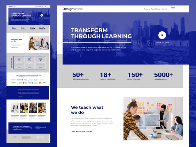Learning Institute dribbble design app webmockup weblayout index website landing home desktop flat ux ui