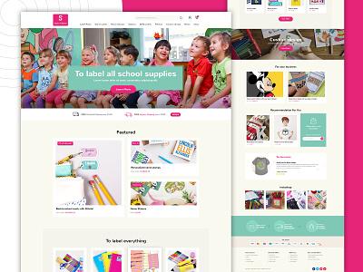 Sticker for Kids kids app webmockup weblayout index website landing home desktop flat ux ui