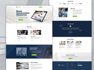 Construction Beam building real estate constructions webmockup weblayout index website landing home desktop flat ux ui
