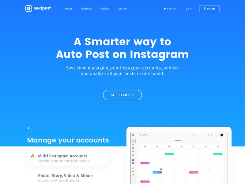 Landing Page - Website for Nextpost homepage sketch interface website application dribbble behance web instagram ui page landing