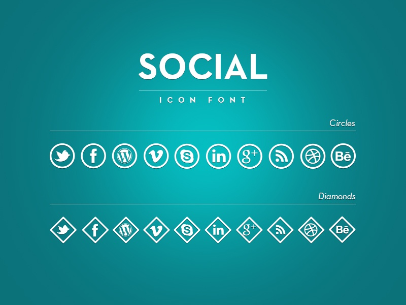 Social icons font - trial blue shine icons font white shadow icon font icons font free icon font