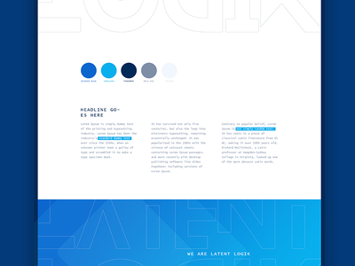 Brand identity drafts - defining overall feel clean geometric gradient blue monospaced font science artificial intelligence