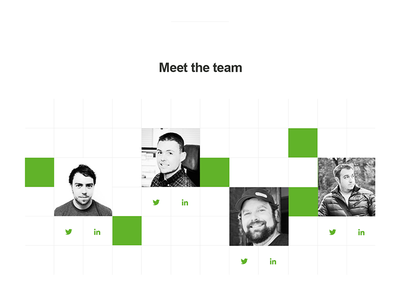 About us :: Meet the team team about green basic shapes geometric grid clean arial system fonts minimal