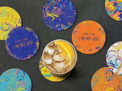 Coasters! sticker mule bright colors pattern coaster