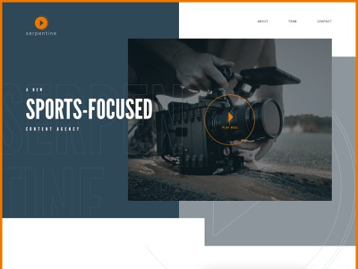Homepage for a new content agency masculine fonts orange video one-page website homepage sports content agency