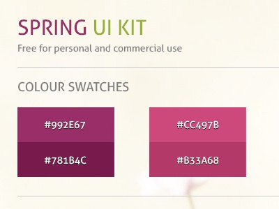 Spring UI Kit spring ui ui kit fuschia green web ui kit