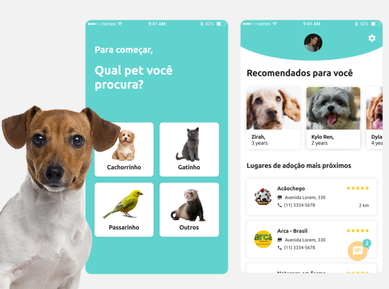 app de adoção cute pet design uiux ux ui home dog app