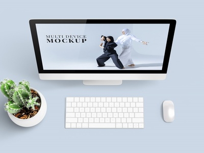 Multi Device Mockup - Scene Creator tablet ipad multi device monitor apple free ui iphone 12 deal mockup design