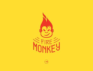 fire monkey monkey logo monkey fire color typography character app icon dribbble branding vector illustration design logo