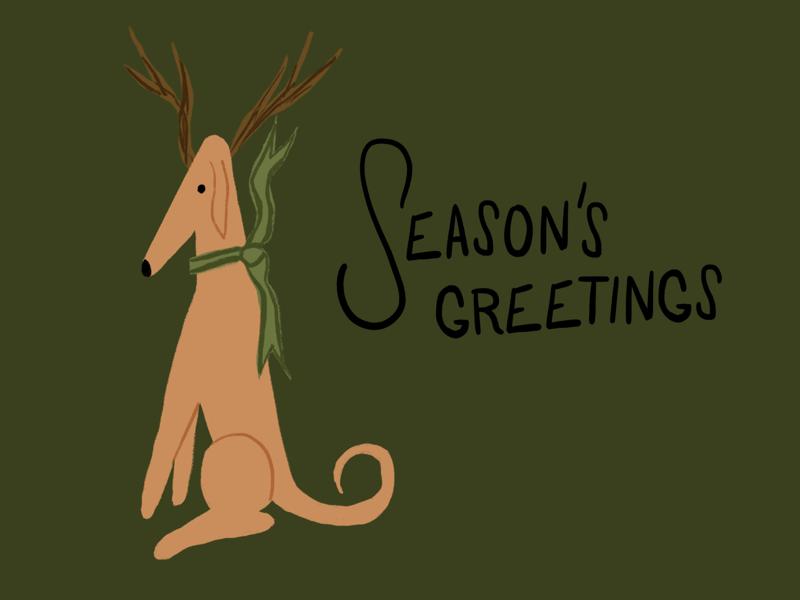 Season's Greetings christmas holiday cards seasonal holiday dog character drawings doodles doodle drawing illustration
