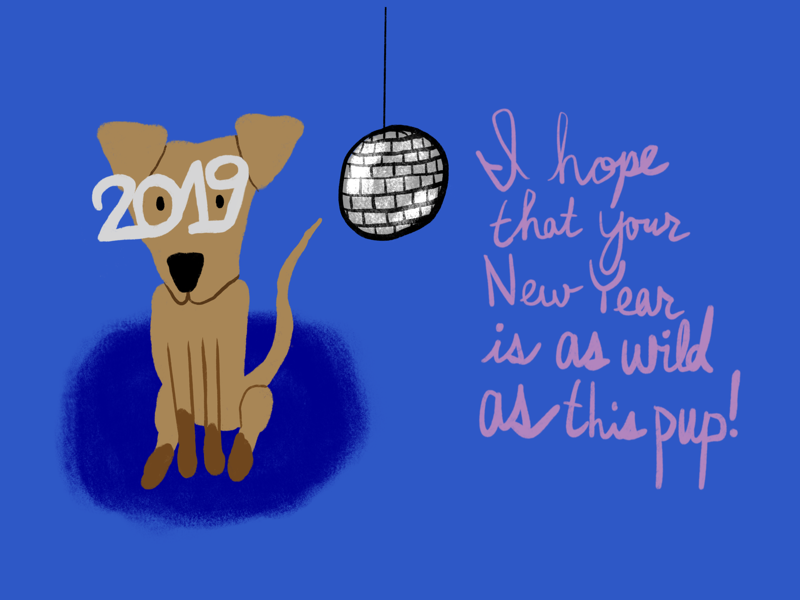 Happy New Year! holiday card holiday character drawings doodles doodle drawing illustration