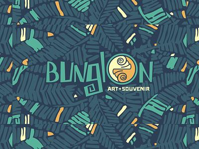 Bunglon-Art+Souvenir tropical artshop palm chameleon branding logo