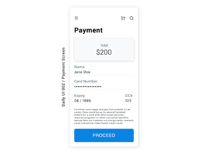 Daily UI 002 / Payment Screen