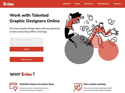 Sribu.com Landing Page Redesign ui web website opendoodles redesign landing page website design branding vector logo illustrator illustration design
