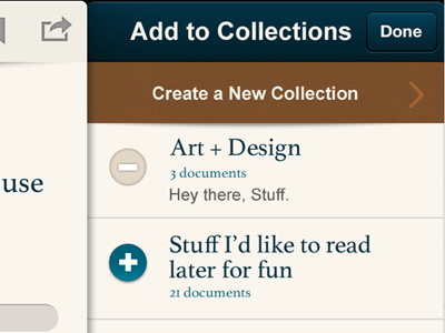 Scribd App - Collections Screen iphone mobile scribd photoshop